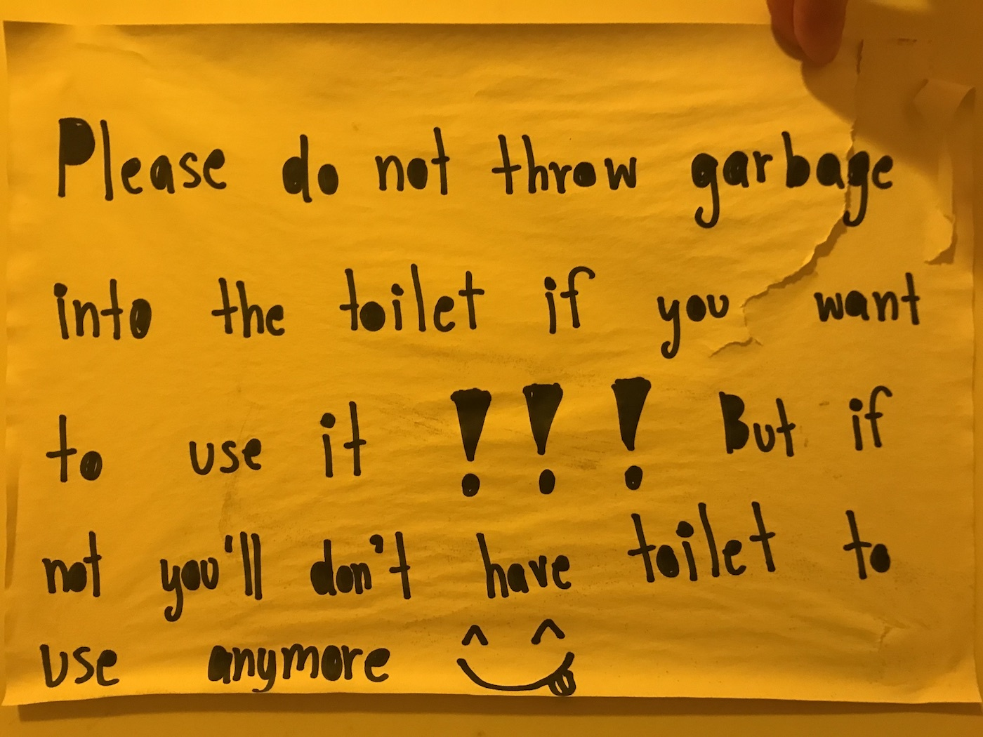 Another sign saying to not flush tissue in the toilet